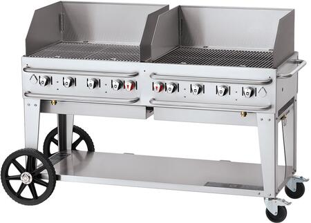 CV-RCB-60WGP-SI50/100 60 Pro Series Liquid Propane Grill with Wind Guard  129 000 BTU Capacity  8 Stainless Steel Burners  Double Crash Bars and Two