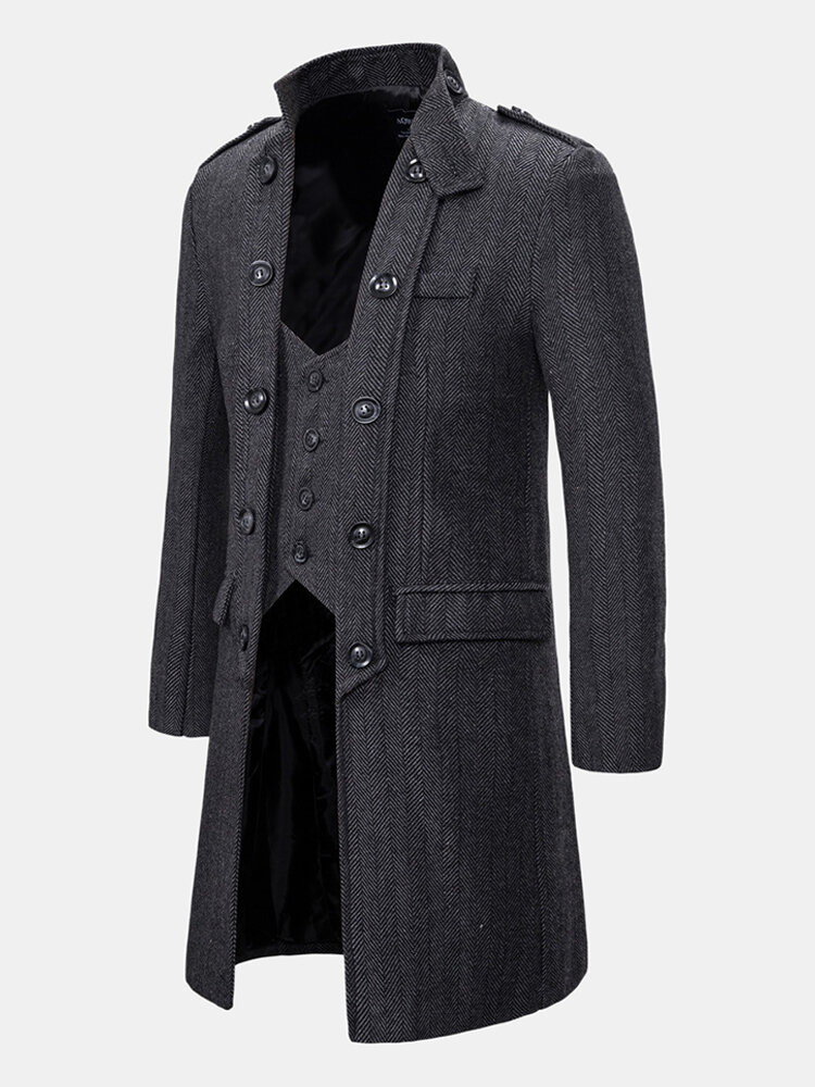 Mens Autumn Fashion Handsome Fake Two Pieces Plain Woolen Trench Coat