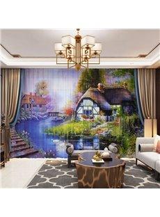 3D Rural Pastoral Style Fairytale Town Printed Decorative 2 Panels Custom Sheer