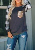Plaid Splicing Sequined Pocket T-Shirt Tee - Dark Grey
