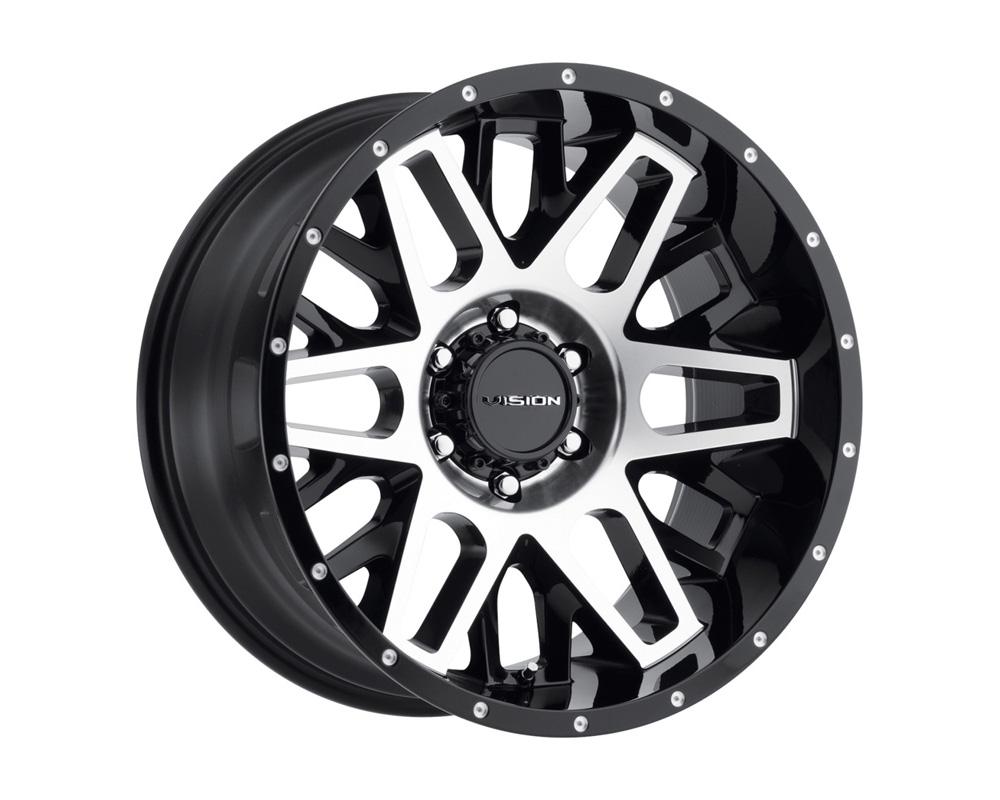 Vision Shadow Gloss Black Machined Face Wheel 22x12 8x180 -51