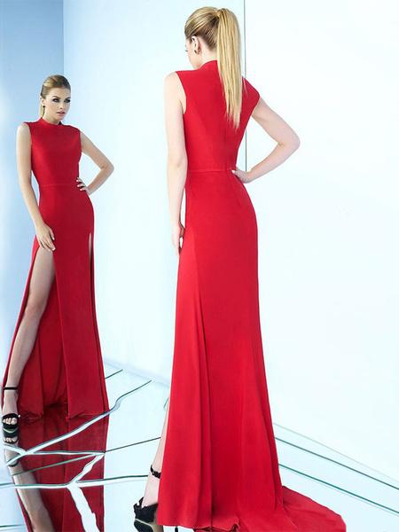 Milanoo Women Maxi Dress Sleeveless Creneck Split Evening Dress