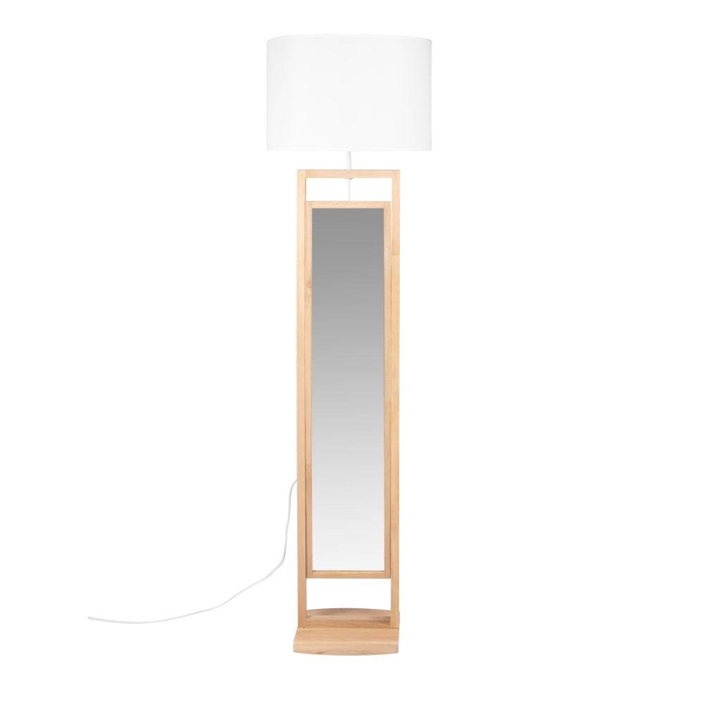 Stehlampe Standspiegel mit Eichenholzfuss und weissem Lampenschirm