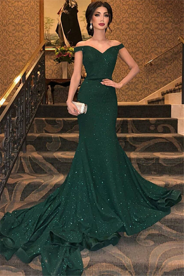 Elegantes vestidos de noche de sirena verde oscuro | Sexy fuera de las lentejuelas hombro vestidos de baile 2021 BC0792