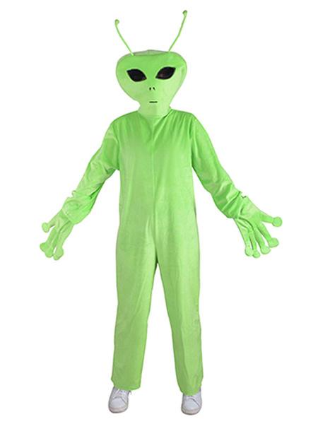 Milanoo Kid Alien Kigurumi Cosplay Wears Green Short Plush Halloween Costume Jumpsuit Carnival