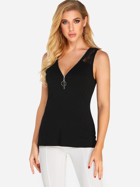 Yoins Black Zip Design V-neck Sleeveless Lace Trim Tank Top