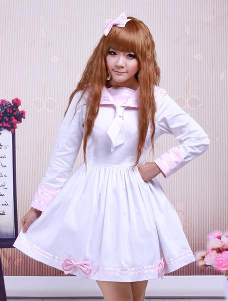 Milanoo Cotton Pink And White Sailor Bow Cotton School Lolita Dress