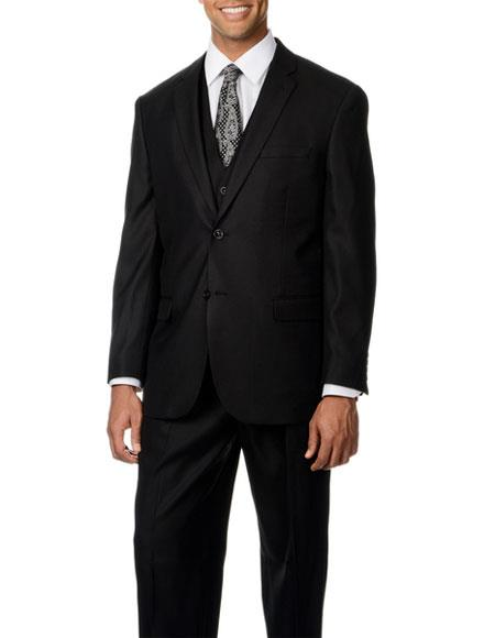 Caravelli Mens NotchLapel Single Breasted Black Shark 3piece Vest Suit