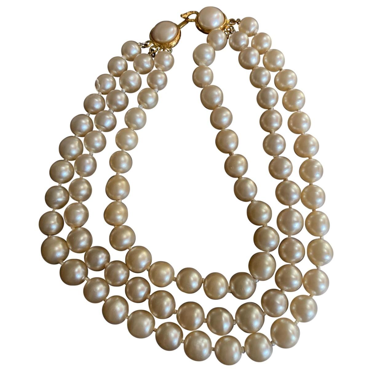 Chanel - Collier Baroque pour femme en perles - ecru