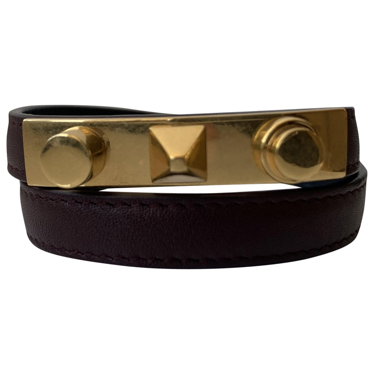 Saint Laurent - Bracelet   pour femme en cuir - bordeaux