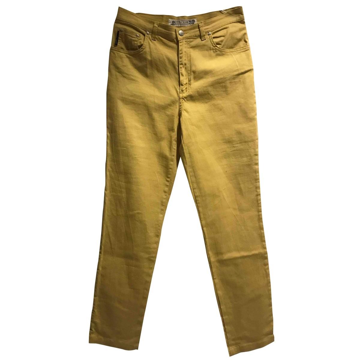 Krizia \N Yellow Cotton Trousers for Women 44 IT