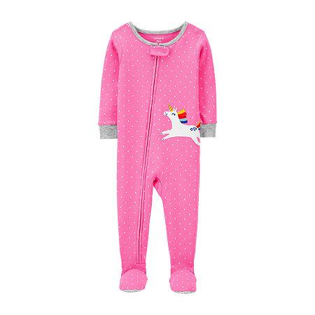 Carter's Toddler Girls Knit Long Sleeve One Piece Pajama, 4t , Pink