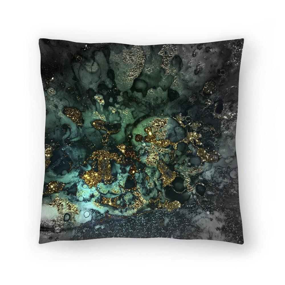 Luxury Dark Malachite Gold Gem Agate and Marble Texture (18x18)