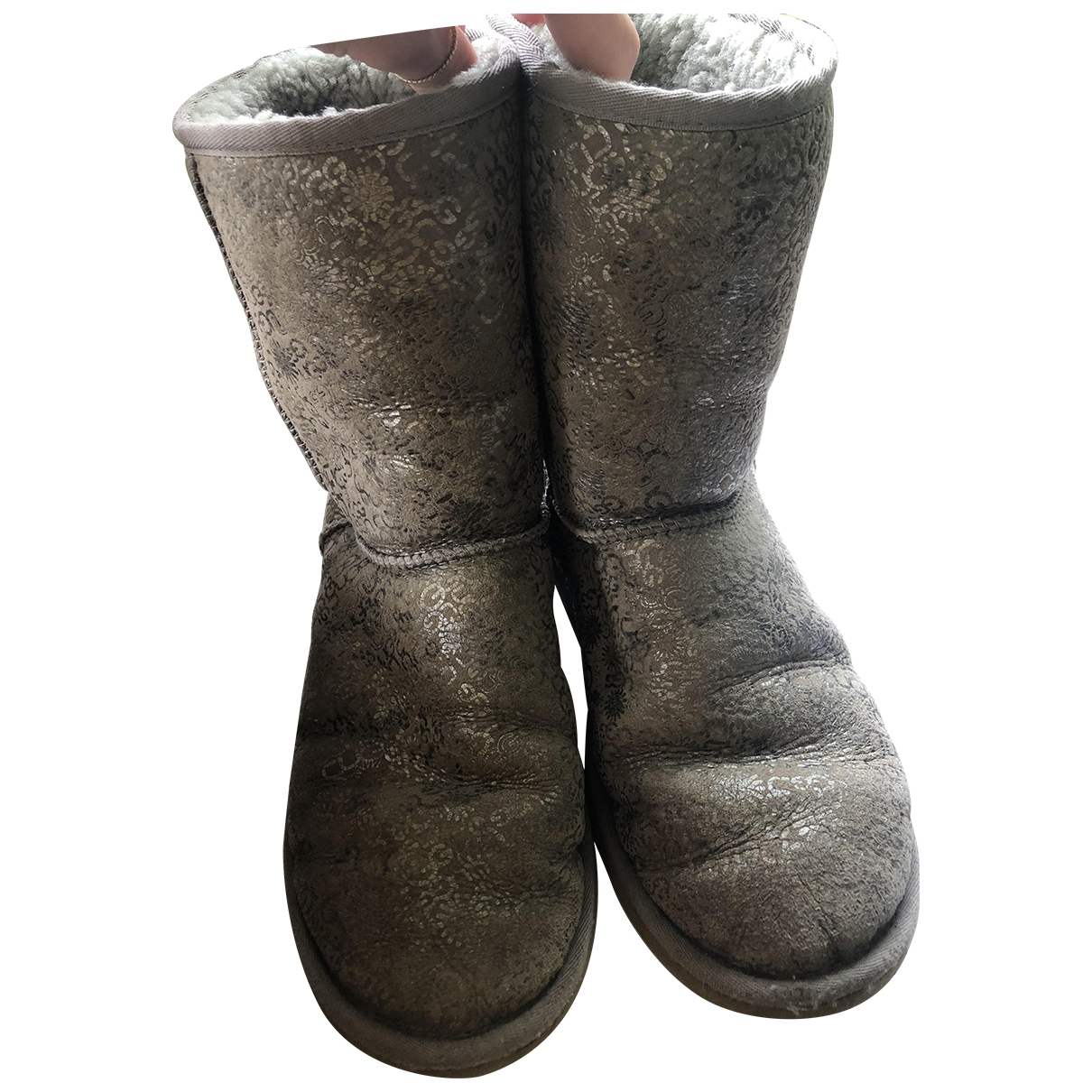 Ugg \N Grey Leather Boots for Women 40 EU