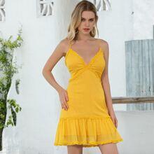 D&M Lace Up Backless Frill Trim Cami Dress