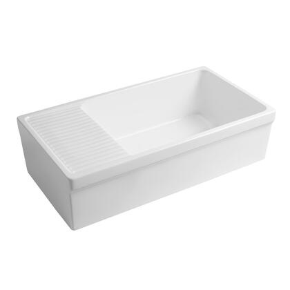 WHQD540-M-WHITE Farmhaus Quatro Alcove Large Reversible Matte Fireclay Kitchen Sink with  Integral Drainboard and a Decorative 2