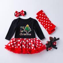 4 piezas vestido body de combinacion con fruncido de malla con estampado de Navidad y lunares