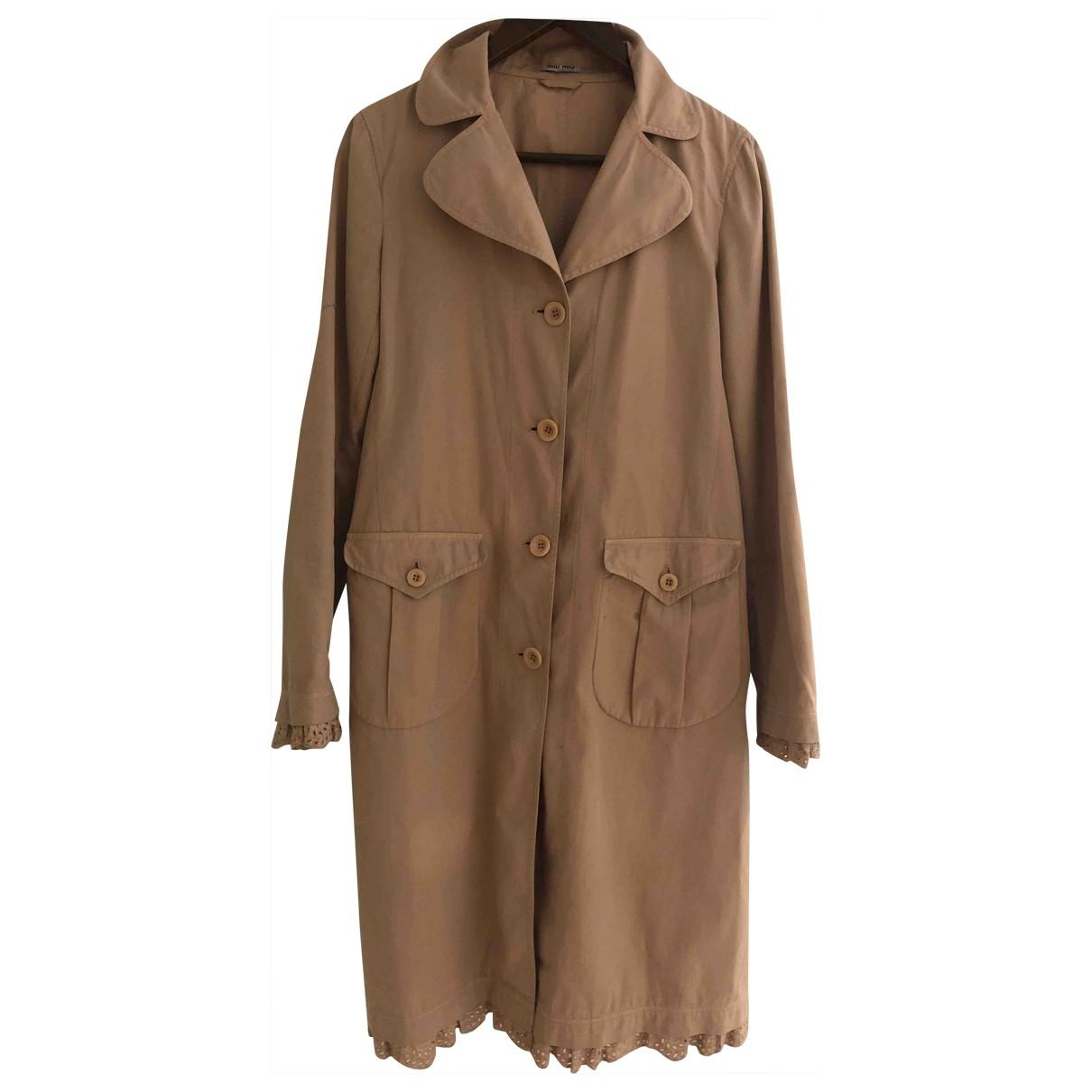 Miu Miu \N Beige Cotton coat for Women 42 IT
