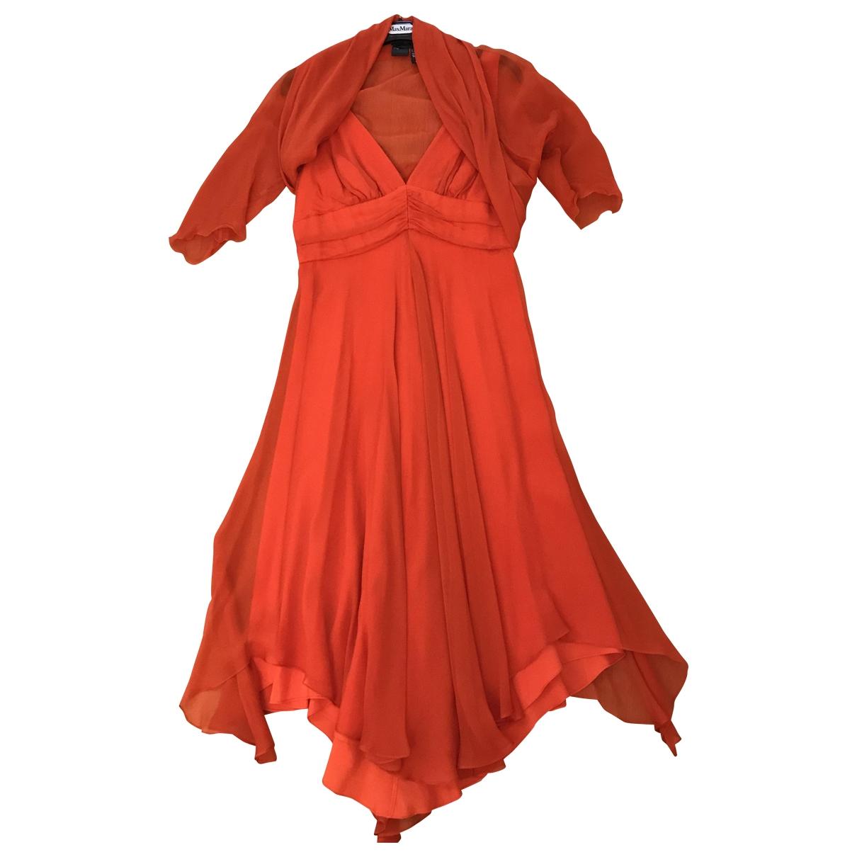 Max Mara Max Mara Atelier Orange Silk dress for Women 46 IT