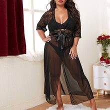 Plus Floral Lace Knot Front Mesh Robe & Thong