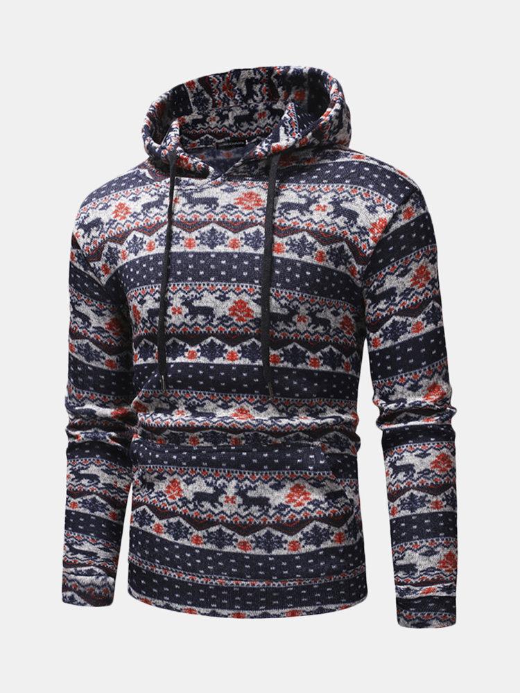 Men Casual Drawstring Printed Hooded Tops Slim Cotton National Sweatshirt