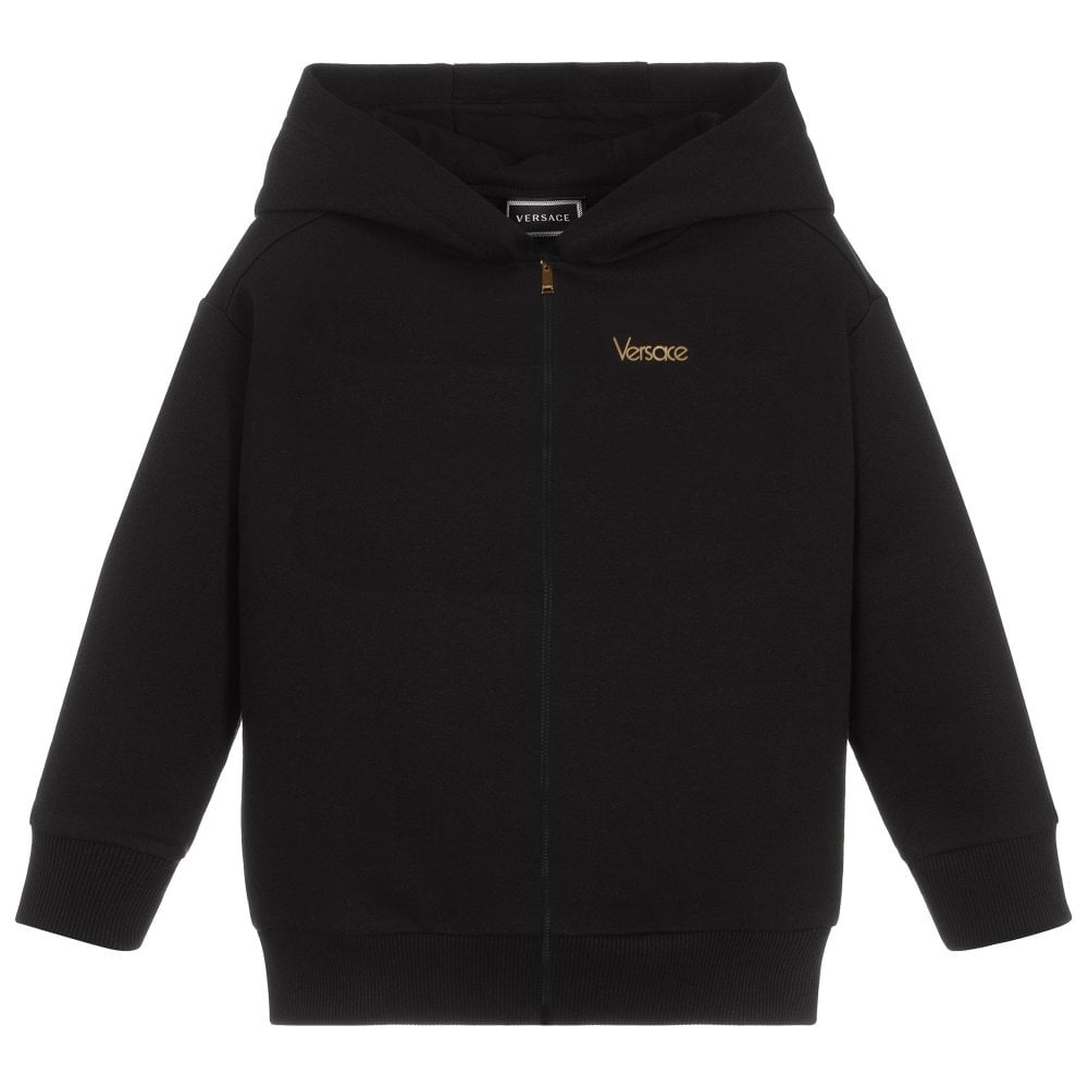 Versace Young Versace Reverse Logo Print Hoodie Colour: BLACK, Size: 6
