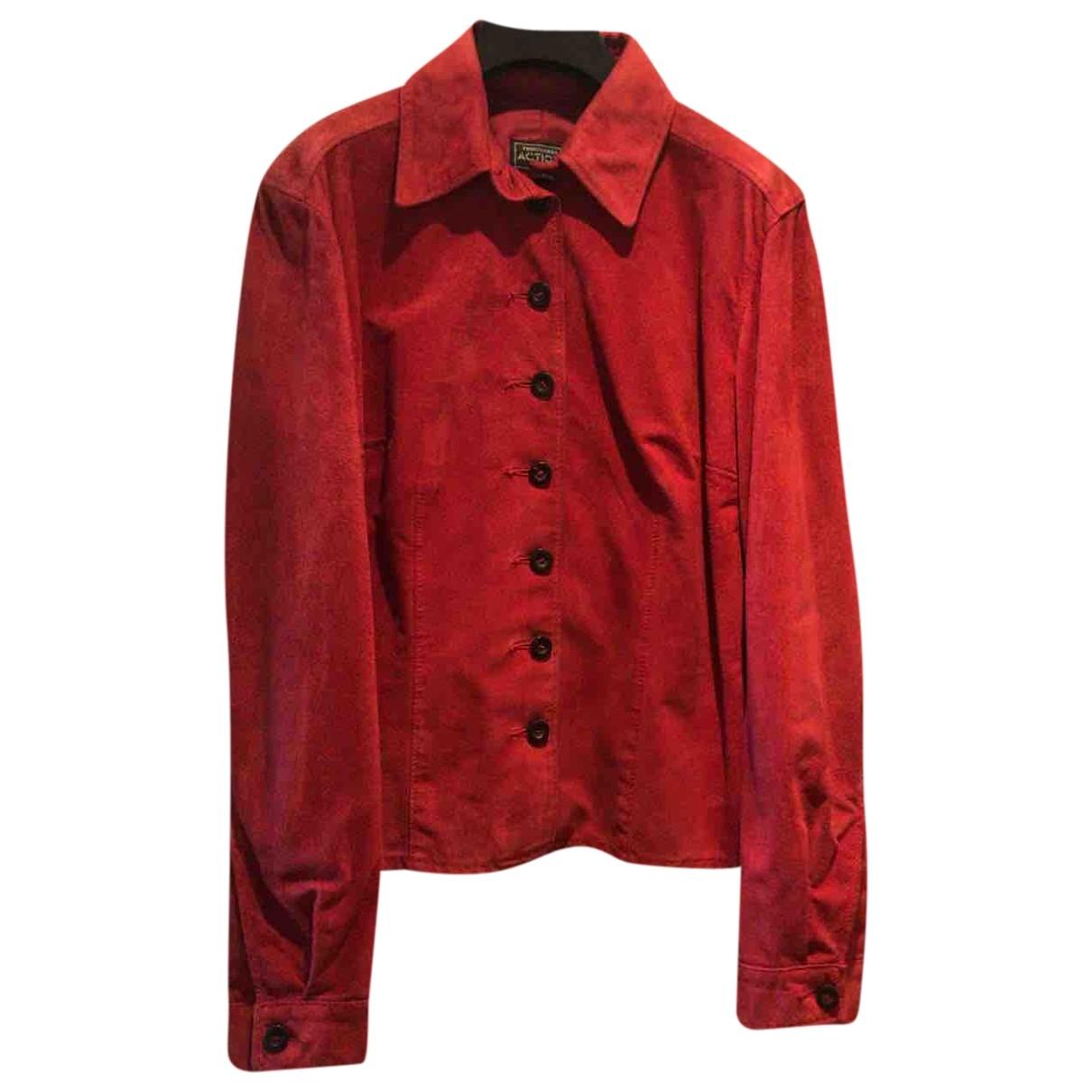 Trussardi - Veste   pour femme en cuir - rouge
