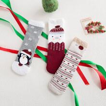 3 Paare Kleinkind Kinder Weihnachten Socken mit Pinguin Muster