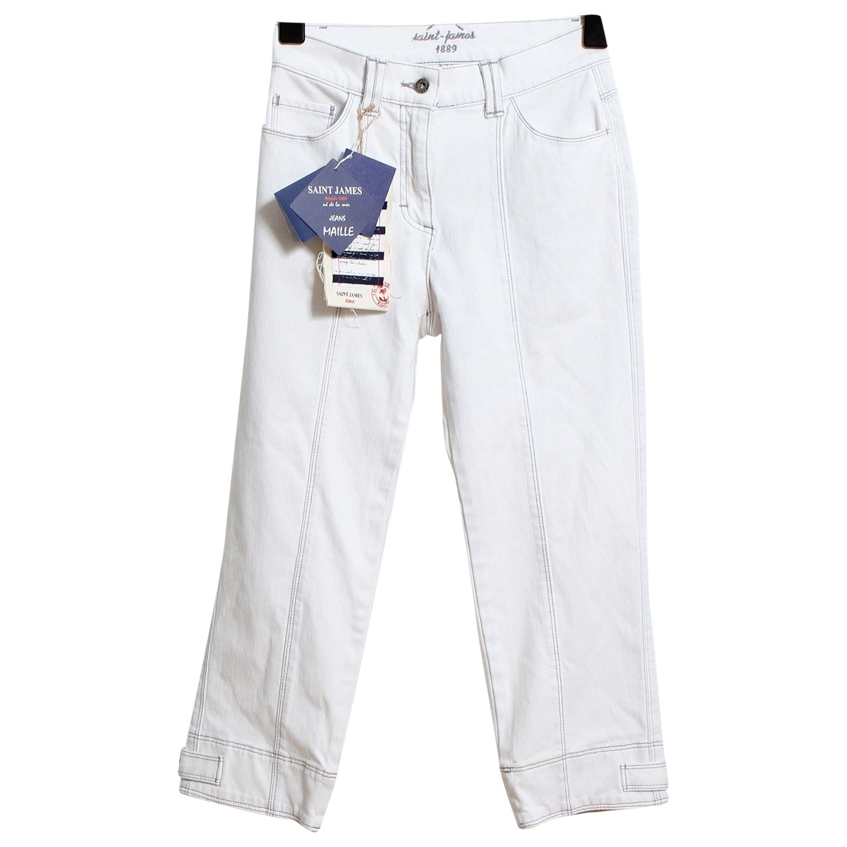 Saint James \N White Cotton Trousers for Women 36 FR