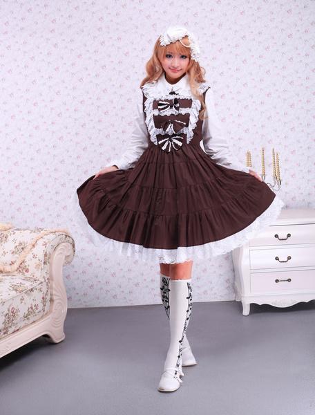 Milanoo Falda tipo Jumper de Lolita marron estilo clasico de algodon con tirantes de encaje