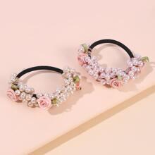 2pcs Flower & Faux Pearl Decor Hair Tie