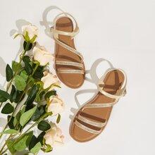Rhinestone Decor Strappy Sandals