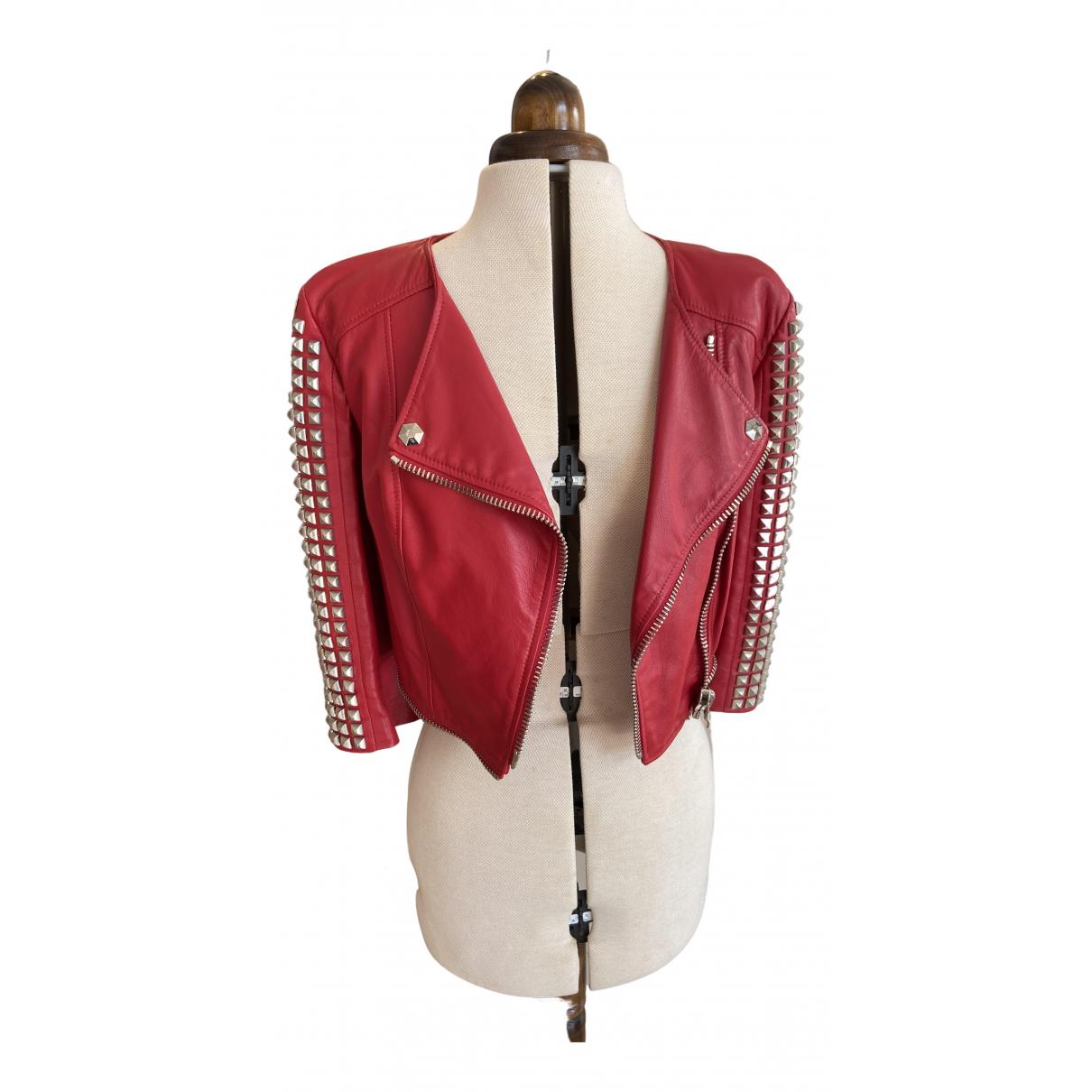 Philipp Plein - Veste   pour femme en cuir - rouge
