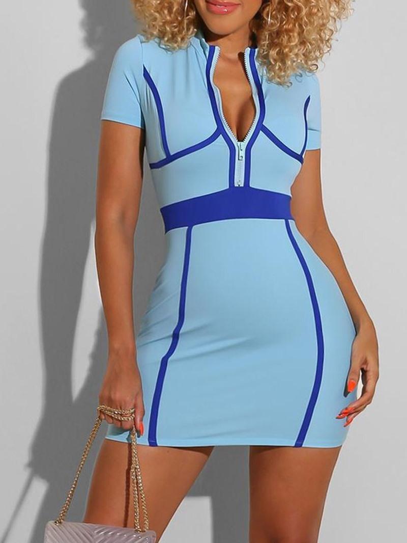 Ericdress Short Sleeve Stand Collar Print Mid Waist Sexy Dress