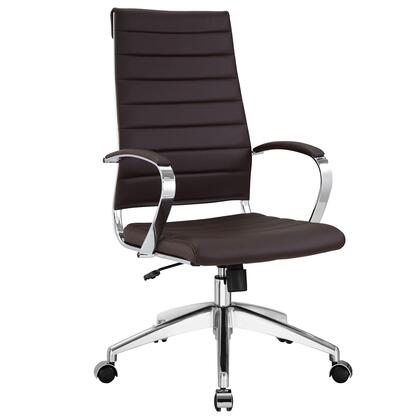 Jive Collection EEI-272-BRN Office Chair with 5-Caster Dual Wheel Base  Padded Arms  Chrome-Plated Aluminum Frame  Tilt Lock Tension Control
