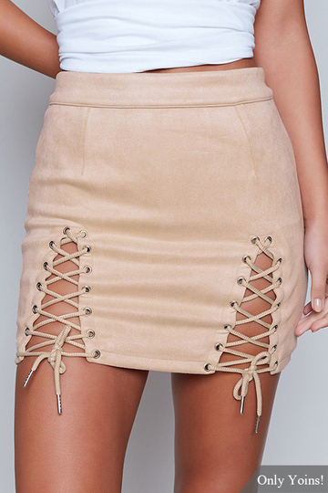 Yoins Apricot Lace-up Design Bodycon Skirt