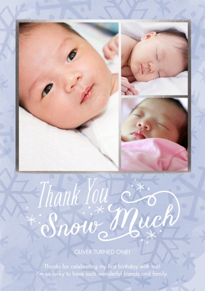 Kids Thank You Cards 5x7 Cards, Premium Cardstock 120lb with Scalloped Corners, Card & Stationery -Winter One-derland Thank You