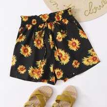 Sunflower Print Paperbag Waist Knot Detail Shorts