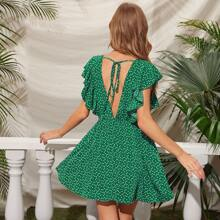 Vestido de sisa fruncido de espalda con cordon con estampado de corazon confetti
