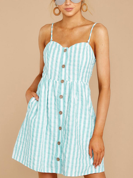 Milanoo Summer Dresses Stripes Button Up Backless Short Sundress With Pockets