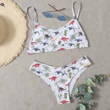 Dinosaur & Plants Cami Bikini Swimsuit