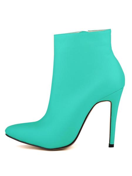 Milanoo Women Ankle Boots Red Pointed Toe Stiletto Heel Zip Up Booties High Heel Boots
