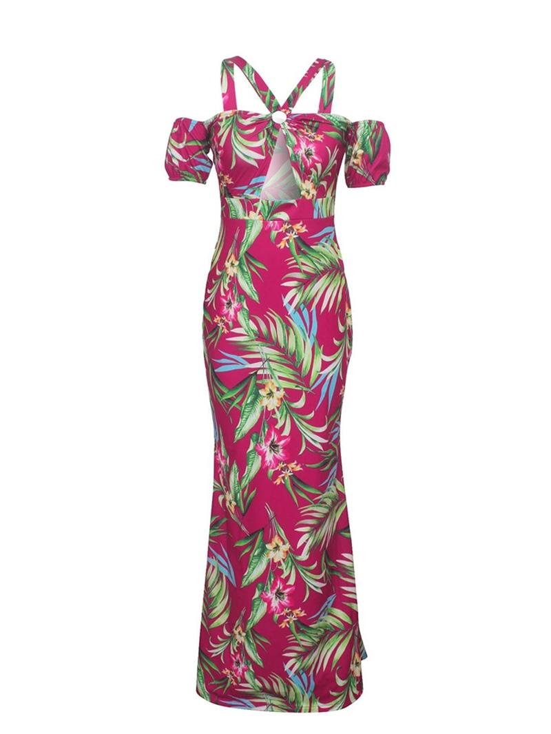 Ericdress Print Bodycon Cold Shoulder Floor-Length Maxi Dress