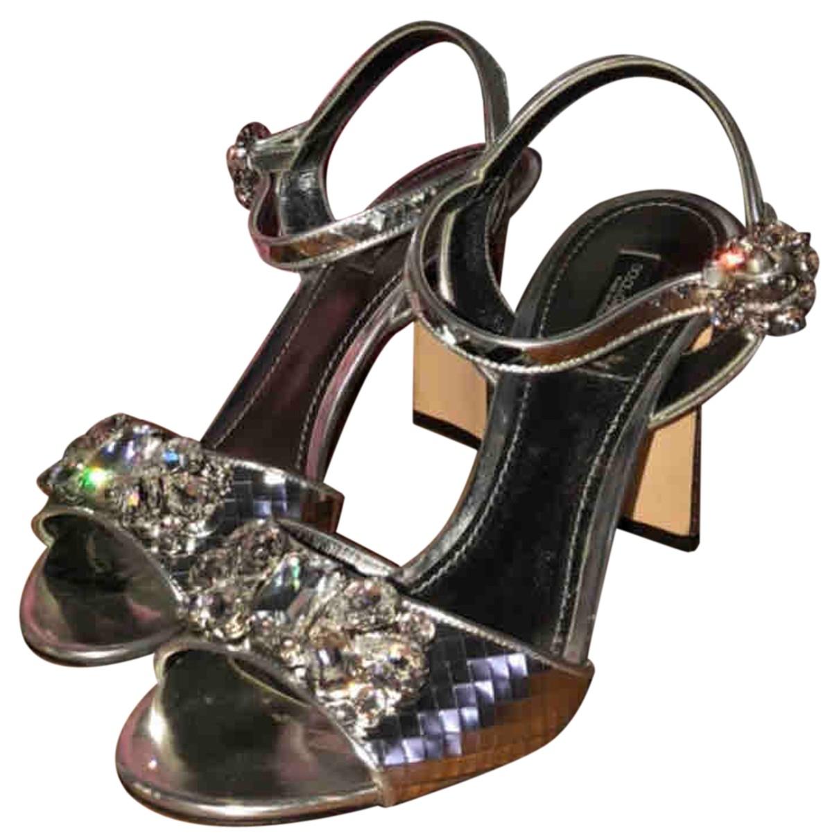 Dolce & Gabbana - Sandales   pour femme en anguille - argente