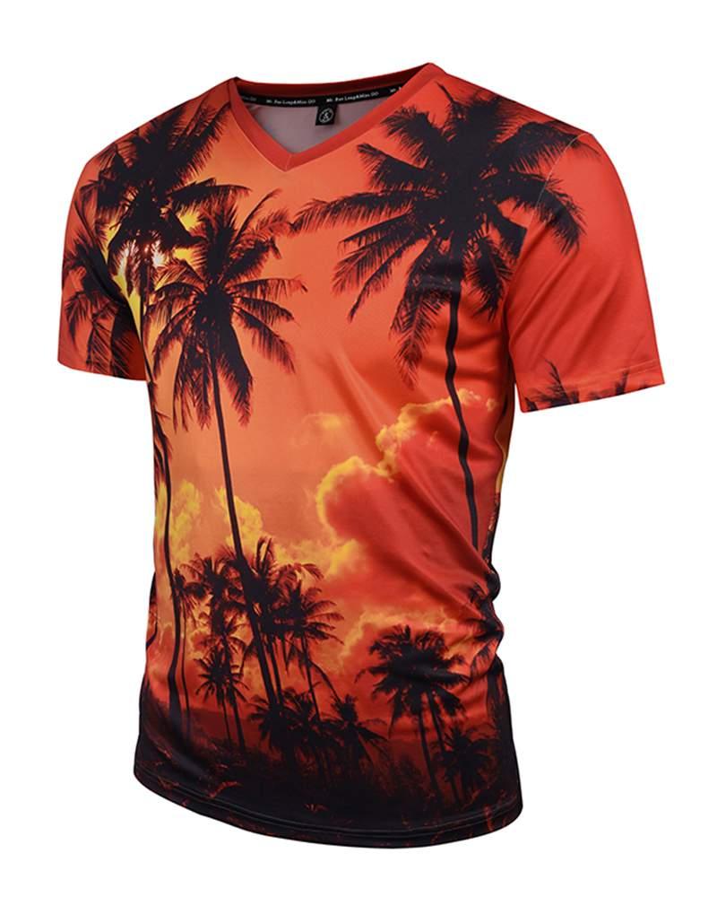 Short Sleeve Coconut Trees V-Neck 3D Pattern T-Shirt