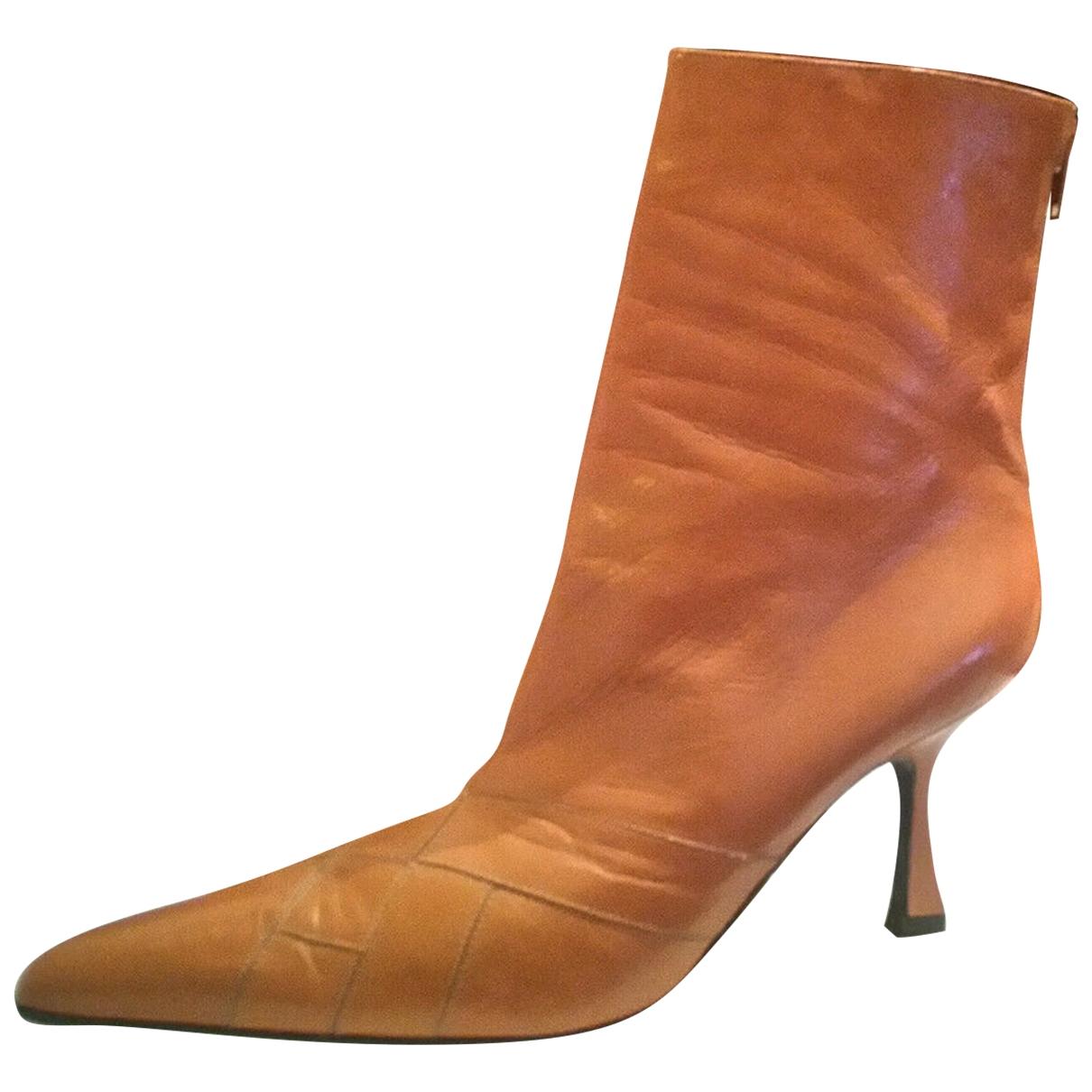 Versace - Boots   pour femme en cuir - orange