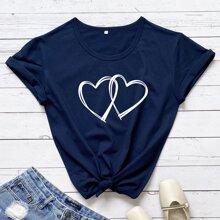 Camiseta con estampado de doble corazon