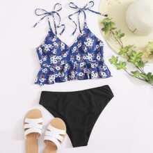 Bikini Badeanzug mit Blumen Muster, Band auf Schulter und Rueschenbesatz