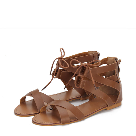 Yoins Brown Leather Look Cross Strap Zipper Back Lace-up Sandals