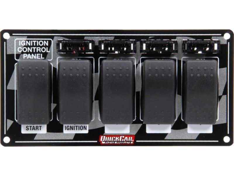 Quickcar Racing Products Rocker Switches Fused with Flag Plate